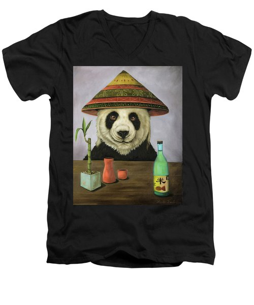 Men's V-Neck T-Shirt featuring the painting Boozer 4 by Leah Saulnier The Painting Maniac