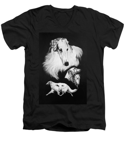 Men's V-Neck T-Shirt featuring the drawing Borzoi by Rachel Hames
