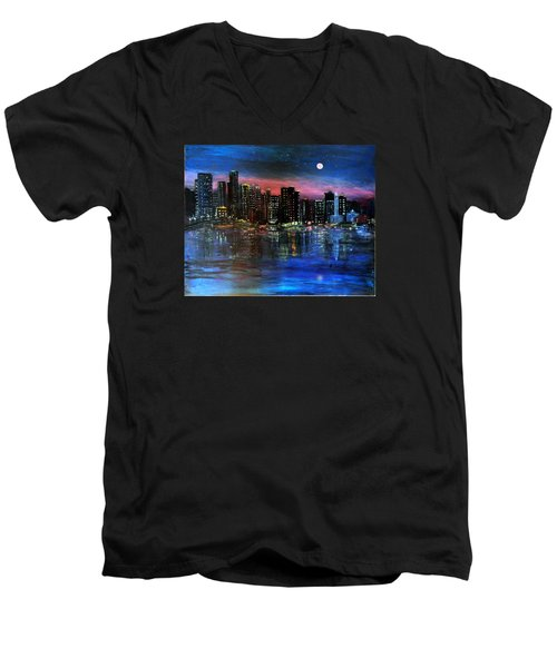 Boston At Night Men's V-Neck T-Shirt
