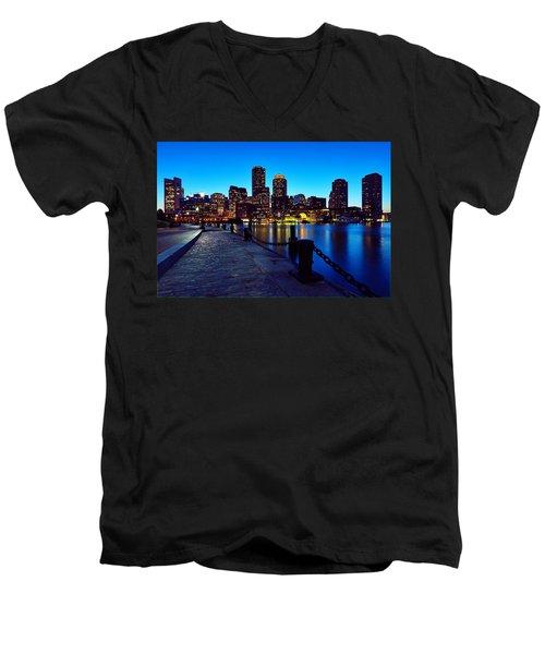 Boston Harbor Walk Men's V-Neck T-Shirt by Rick Berk