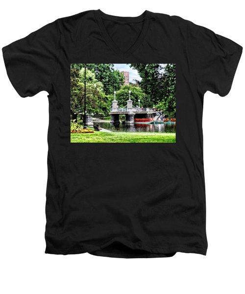Boston Ma - Boston Public Garden Bridge Men's V-Neck T-Shirt by Susan Savad