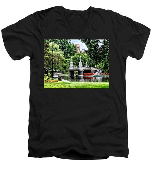 Boston Ma - Boston Public Garden Bridge Men's V-Neck T-Shirt