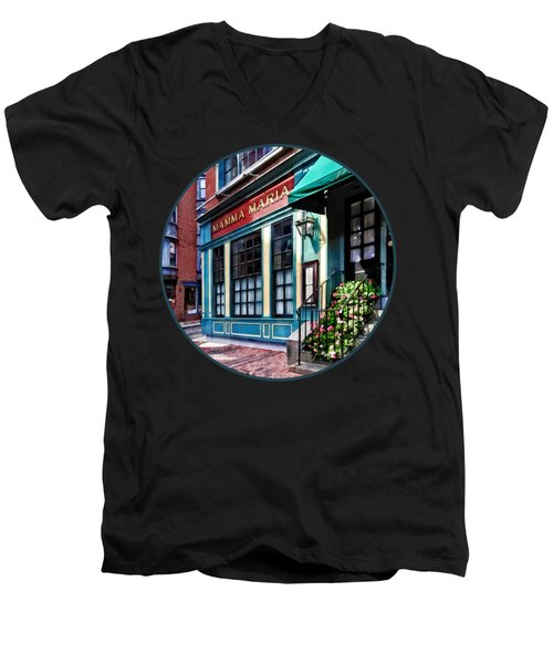 Boston Ma - North End Restaurant Men's V-Neck T-Shirt