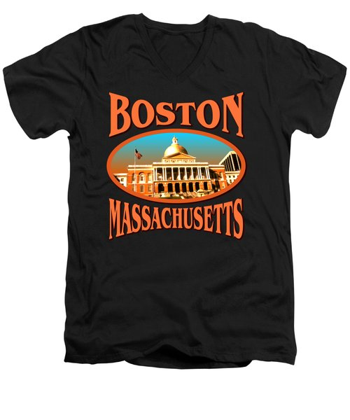 Boston Massachusetts Design Men's V-Neck T-Shirt