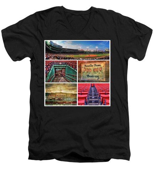 Boston Red Sox Collage - Fenway Park Men's V-Neck T-Shirt