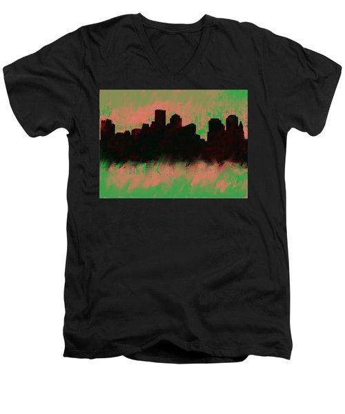 Boston Skyline Green  Men's V-Neck T-Shirt by Enki Art