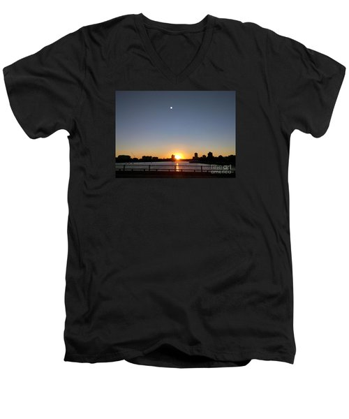 Men's V-Neck T-Shirt featuring the photograph Boston Skyline Sunset   by Haleh Mahbod