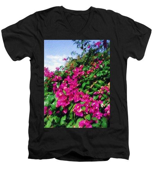 Bougainvillea Men's V-Neck T-Shirt by Sandy MacGowan