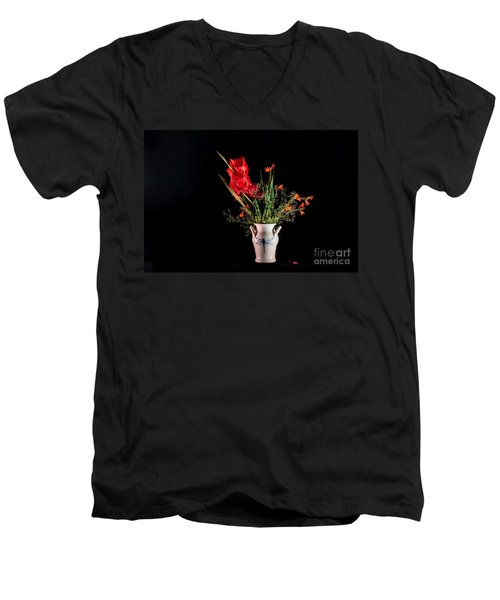 Bouquet In Red Men's V-Neck T-Shirt by Torbjorn Swenelius