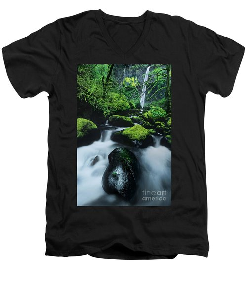 Men's V-Neck T-Shirt featuring the photograph Boulder Elowah Falls Columbia River Gorge Nsa Oregon by Dave Welling