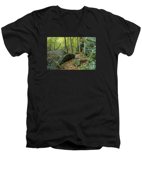 Boulders On The Bear Hair Gap Trail Men's V-Neck T-Shirt by Barbara Bowen