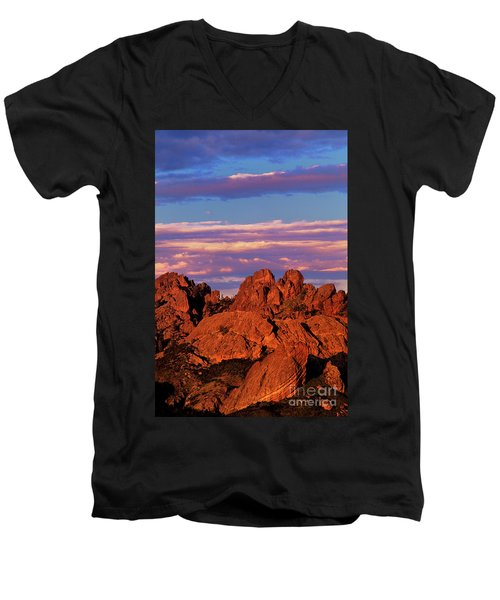 Men's V-Neck T-Shirt featuring the photograph Boulders Sunset Light Pinnacles National Park Californ by Dave Welling