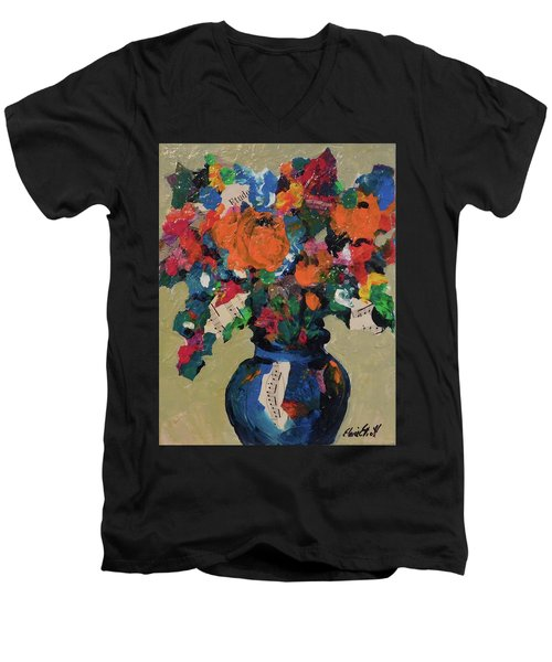 Bouquet-a-day #8 Original Mixed Media Painting On Canvas 70.00 Incl Shipping By Elaine Elliott Men's V-Neck T-Shirt