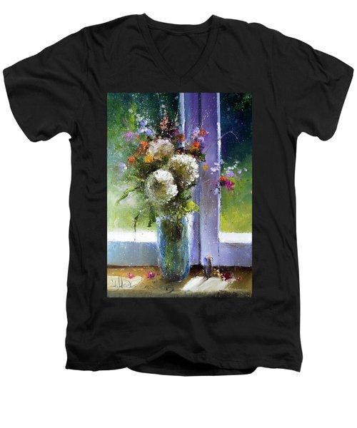 Bouquet At Window Men's V-Neck T-Shirt