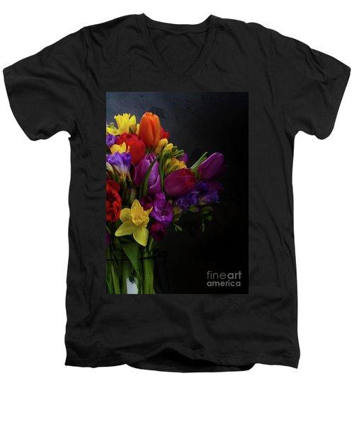 Flowers Dutch Style Men's V-Neck T-Shirt by Anastasy Yarmolovich