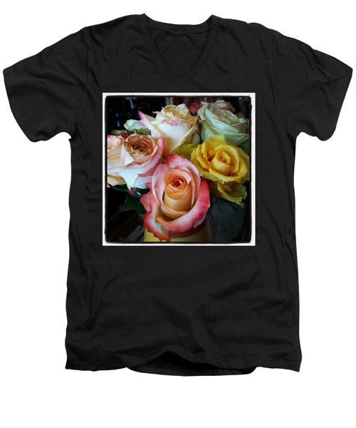 Men's V-Neck T-Shirt featuring the photograph Bouquet Of Mature Roses At The Counter by Mr Photojimsf