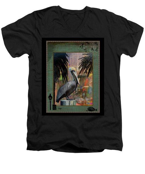 Bourbon Street Pelican Men's V-Neck T-Shirt