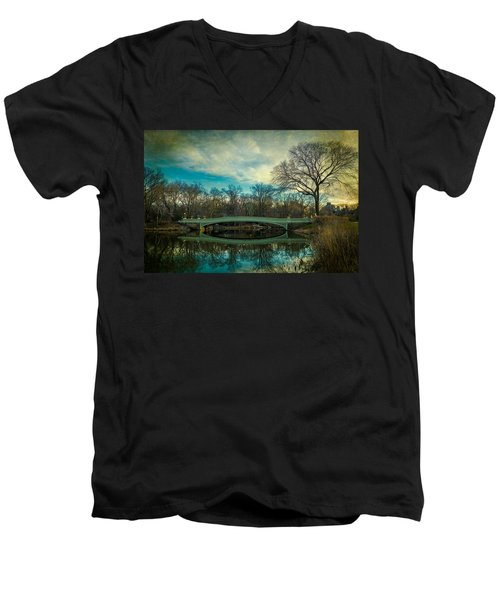 Men's V-Neck T-Shirt featuring the photograph Bow Bridge Reflection by Chris Lord