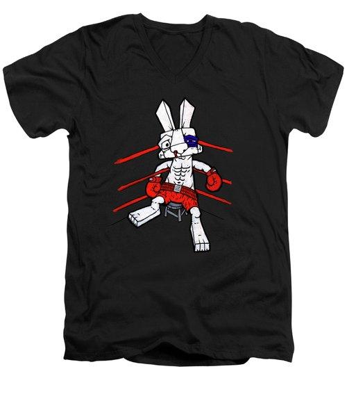 Boxer Bunny Men's V-Neck T-Shirt by Bizarre Bunny