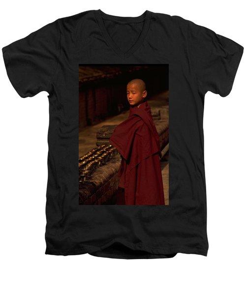 Boy Buddhist In Bodh Gaya Men's V-Neck T-Shirt