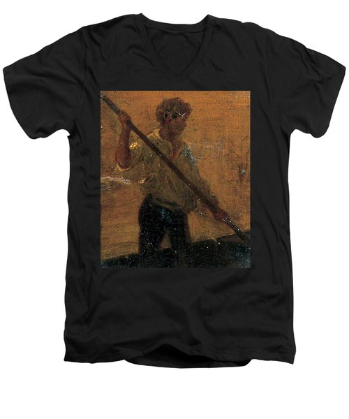 Men's V-Neck T-Shirt featuring the painting Boy In A Punt by Henry Scott Tuke