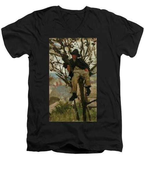 Men's V-Neck T-Shirt featuring the painting Boy In A Tree by Henry Scott Tuke