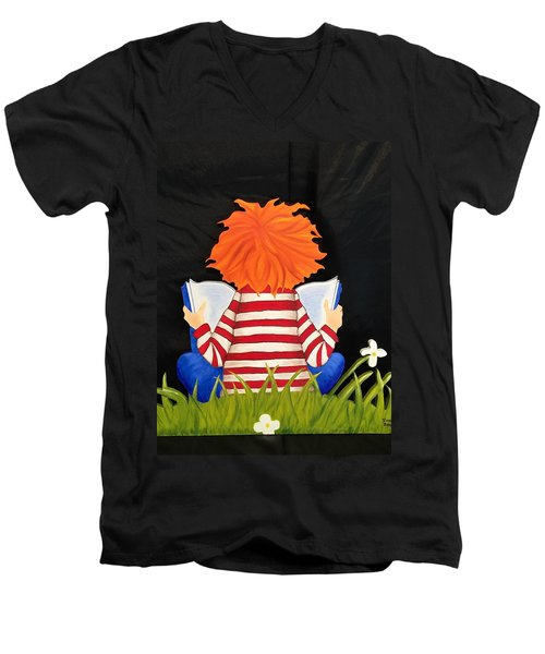 Boy Reading Book Men's V-Neck T-Shirt by Brenda Bonfield
