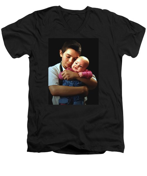 Men's V-Neck T-Shirt featuring the photograph Boy With Bald-headed Baby by RC deWinter