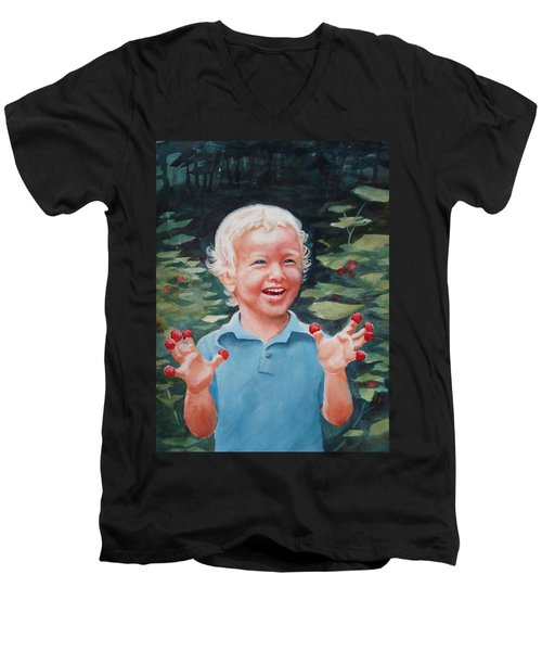 Men's V-Neck T-Shirt featuring the painting Boy With Raspberries by Marilyn Jacobson