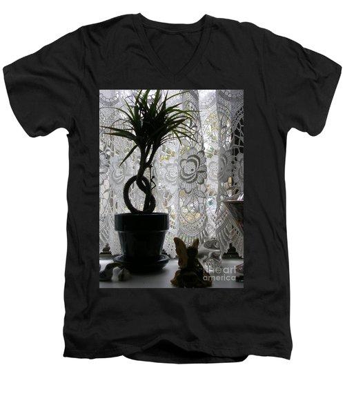 Braided Dracena On Sill Men's V-Neck T-Shirt