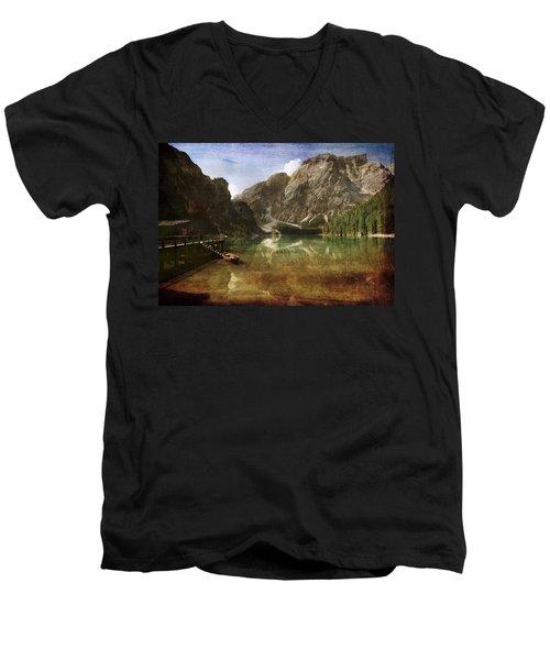 Braies Lake Men's V-Neck T-Shirt by Vittorio Chiampan