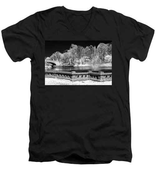 Men's V-Neck T-Shirt featuring the photograph Branch Brook Park New Jersey Ir by Susan Candelario