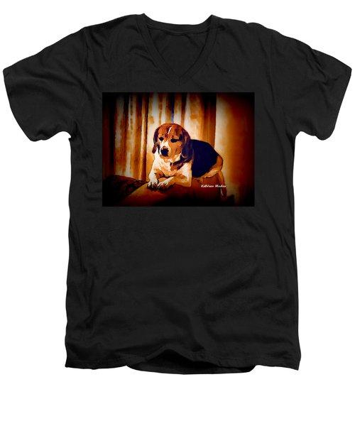 Bravo In Brown Satin Men's V-Neck T-Shirt