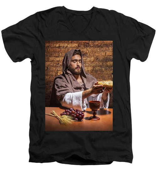 Men's V-Neck T-Shirt featuring the painting Bread Of Life by Karen Showell