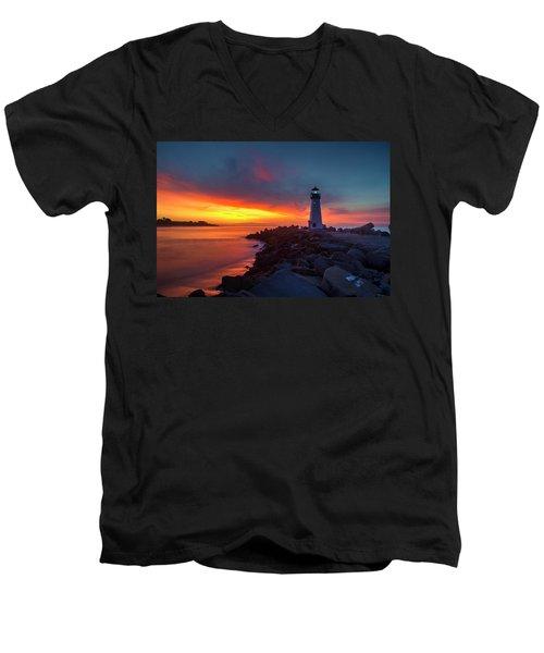 Break Of Day At Walton Lighthouse Men's V-Neck T-Shirt