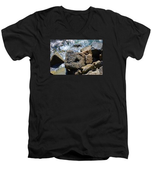 Men's V-Neck T-Shirt featuring the photograph Breakwall by Steed Edwards