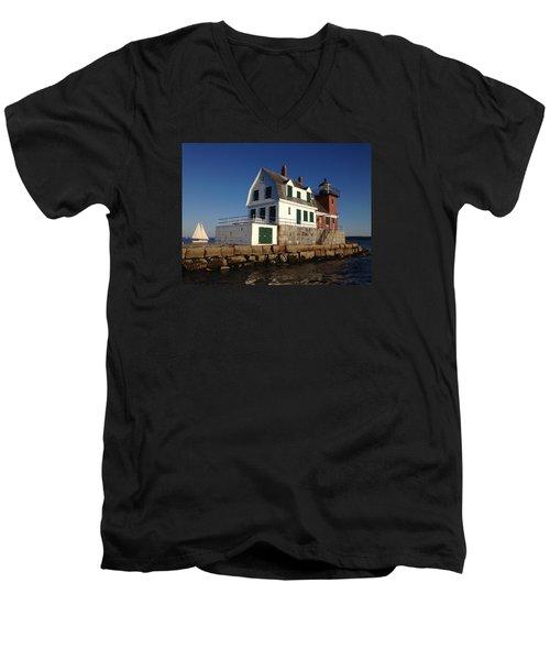 Breakwater Lighthouse Men's V-Neck T-Shirt by Jewels Blake Hamrick