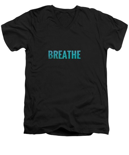 Breathe Black Background Men's V-Neck T-Shirt
