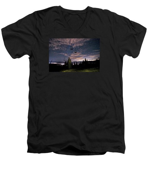 Breckenridge Chairlift Under Stars Men's V-Neck T-Shirt