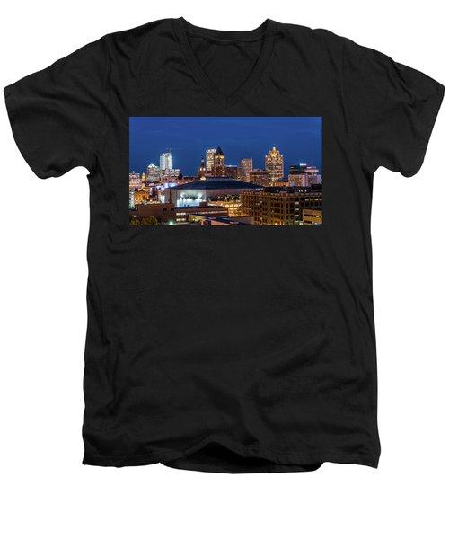 Brew City At Dusk Men's V-Neck T-Shirt by Randy Scherkenbach