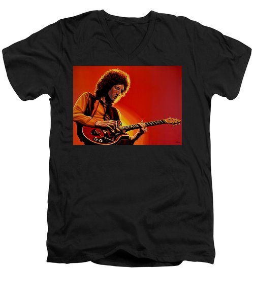Brian May Of Queen Painting Men's V-Neck T-Shirt by Paul Meijering