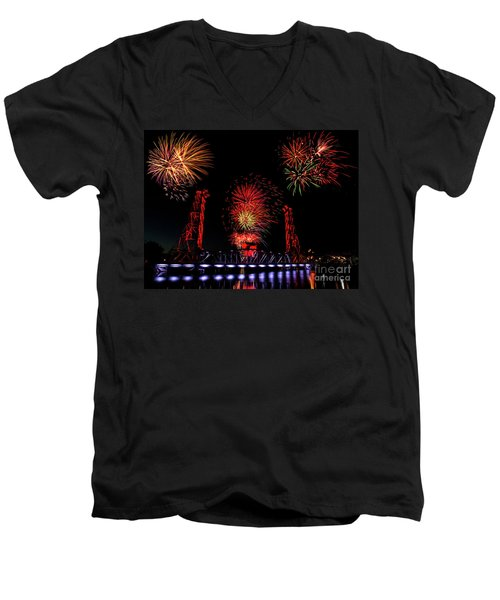 Men's V-Neck T-Shirt featuring the photograph Bridge 13 Canada Day by JT Lewis