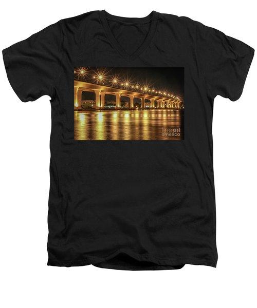 Bridge And Golden Water Men's V-Neck T-Shirt by Tom Claud