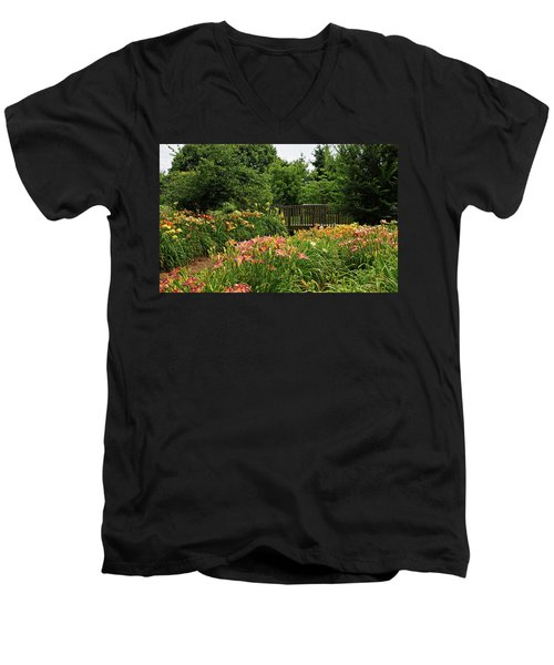 Men's V-Neck T-Shirt featuring the photograph Bridge In Daylily Garden by Sandy Keeton