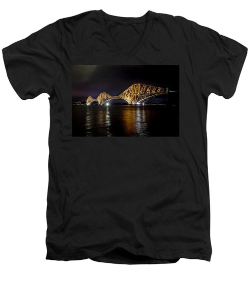 Bridge Over Water Lights. Men's V-Neck T-Shirt