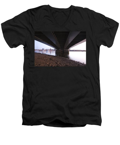 Men's V-Neck T-Shirt featuring the photograph Bridge Over Wexford Harbour by Ian Middleton