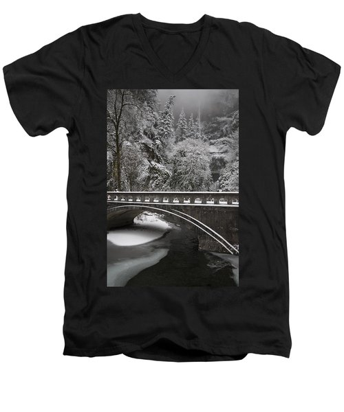 Bridges Of Multnomah Falls Men's V-Neck T-Shirt