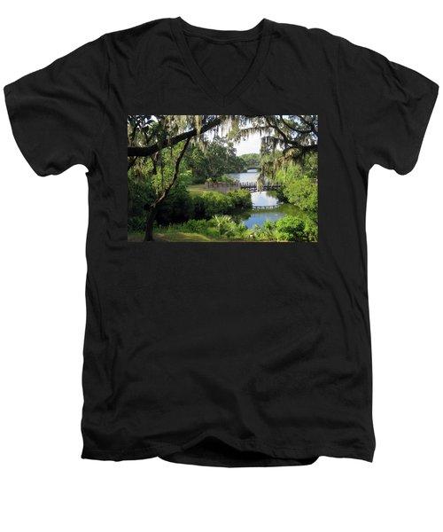 Bridges Over Tranquil Waters Men's V-Neck T-Shirt
