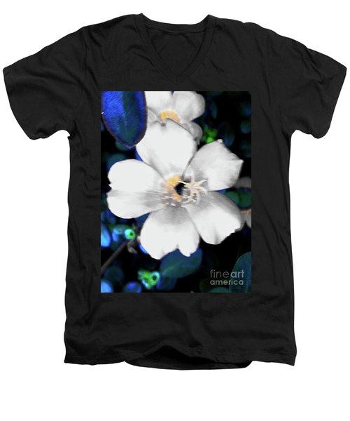 Bright Blue Accents White Vinca Men's V-Neck T-Shirt
