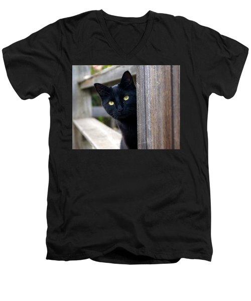 Bright Eyed Kitty Men's V-Neck T-Shirt